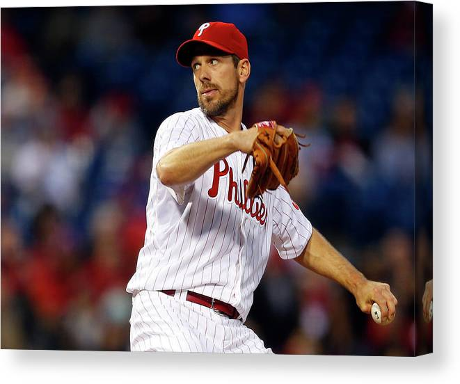 Citizens Bank Park Canvas Print featuring the photograph Cliff Lee by Rich Schultz