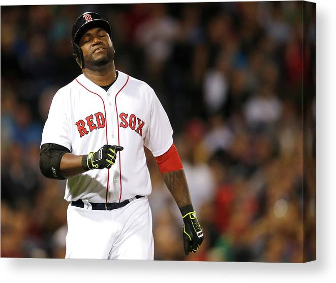 American League Baseball Canvas Print featuring the photograph David Ortiz by Jim Rogash