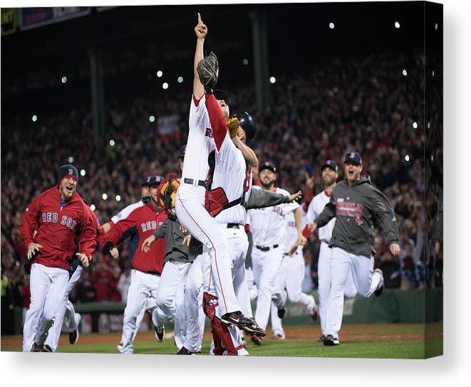 Playoffs Canvas Print featuring the photograph David Ross and Koji Uehara by Ron Vesely