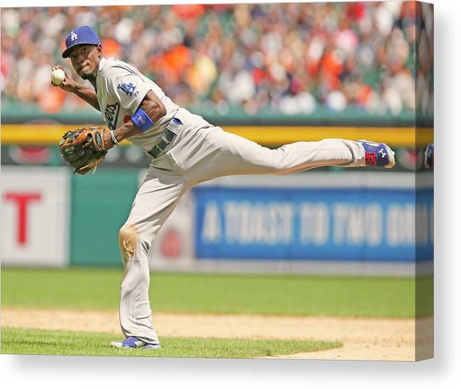 American League Baseball Canvas Print featuring the photograph Dee Gordon by Duane Burleson