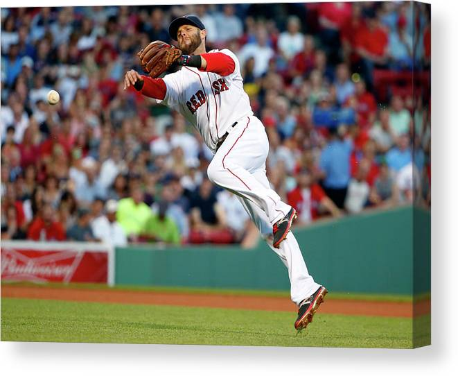 People Canvas Print featuring the photograph Dustin Pedroia and Travis Snider by Winslow Townson