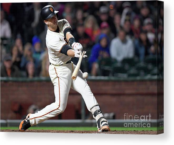 San Francisco Canvas Print featuring the photograph Eduardo Nunez and Buster Posey by Thearon W. Henderson