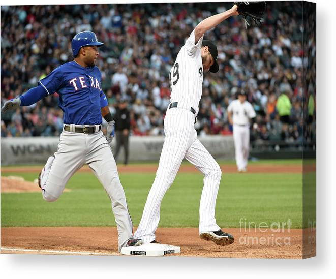 People Canvas Print featuring the photograph Elvis Andrus and Chris Sale by David Banks