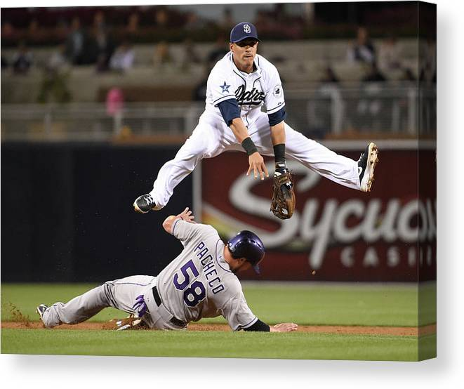 Double Play Canvas Print featuring the photograph Everth Cabrera and Jordan Pacheco by Denis Poroy