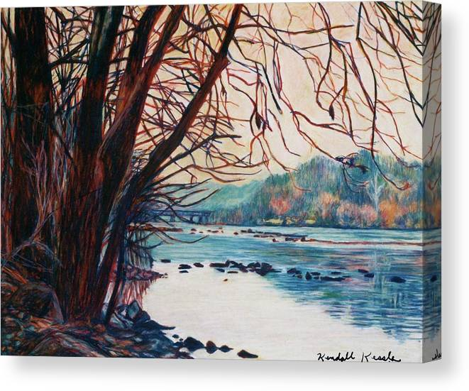 New River Canvas Print featuring the pastel Fall on the New River by Kendall Kessler