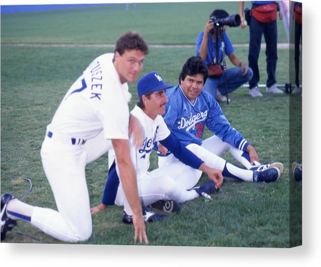 1980-1989 Canvas Print featuring the photograph Fernando Valenzuela by Donaldson Collection