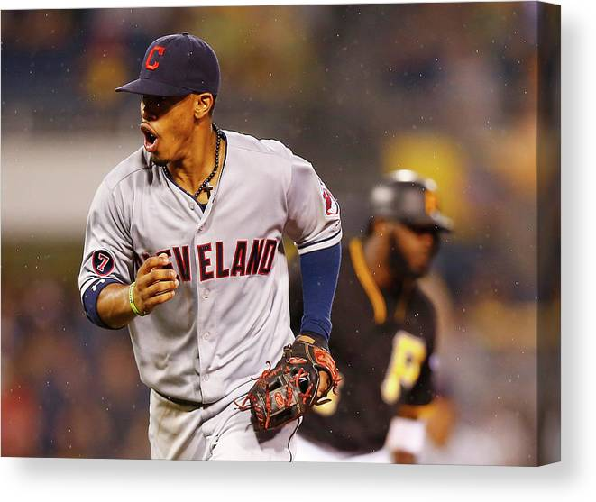 Double Play Canvas Print featuring the photograph Francisco Lindor by Jared Wickerham