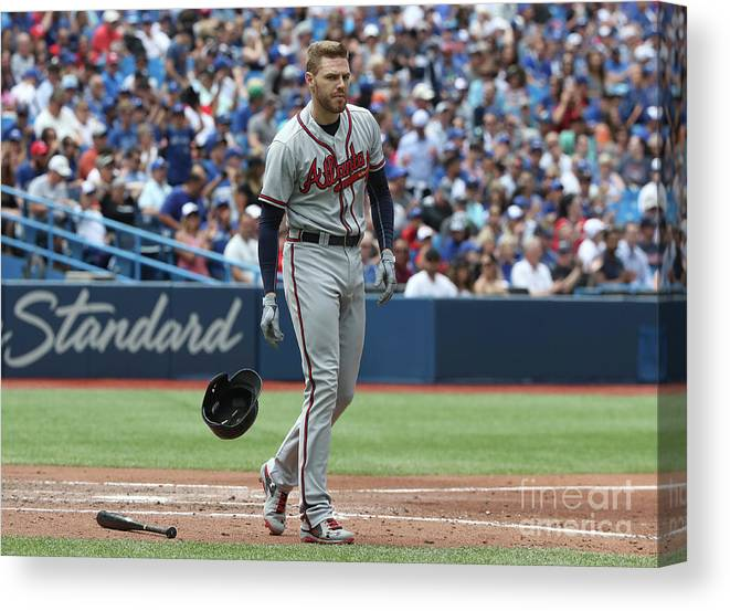 People Canvas Print featuring the photograph Freddie Freeman by Tom Szczerbowski