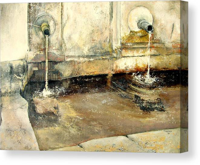 Fuente Canvas Print featuring the painting Fuente by Tomas Castano