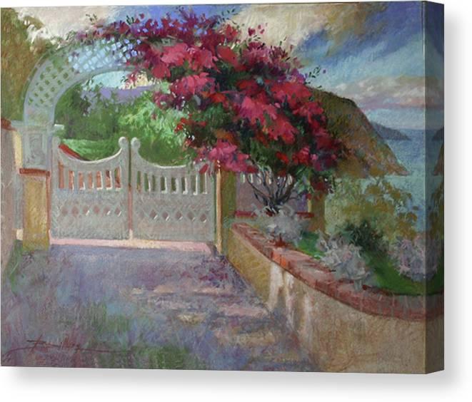 Catalina Island Canvas Print featuring the painting Gateway Splendor - Catalina Island by Betty Jean Billups