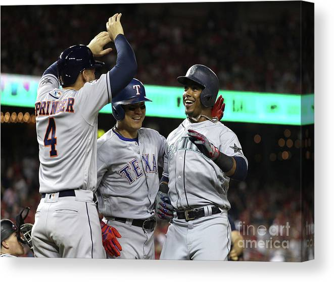 Three Quarter Length Canvas Print featuring the photograph George Springer, Jean Segura, and Shin-soo Choo by Patrick Smith