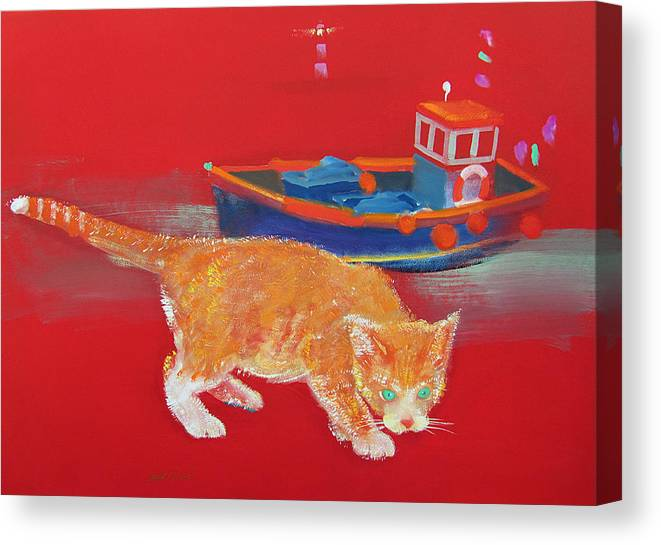 Cat Canvas Print featuring the painting Ginger Tabby Cat by Charles Stuart