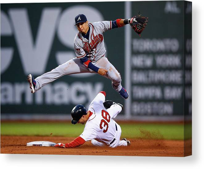 Double Play Canvas Print featuring the photograph Grady Sizemore and Ramiro Pena by Jared Wickerham
