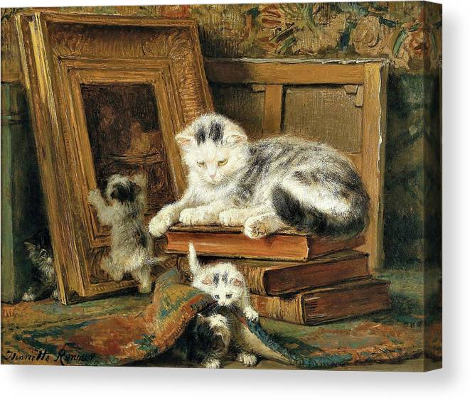 Hide And Seek Canvas Print featuring the painting Hide and seek - Digital Remastered Edition by Henriette Ronner-Knip