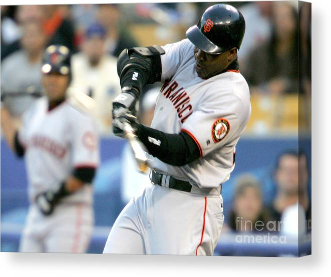 California Canvas Print featuring the photograph Hideo Nomo and Barry Bonds by Jon Soohoo