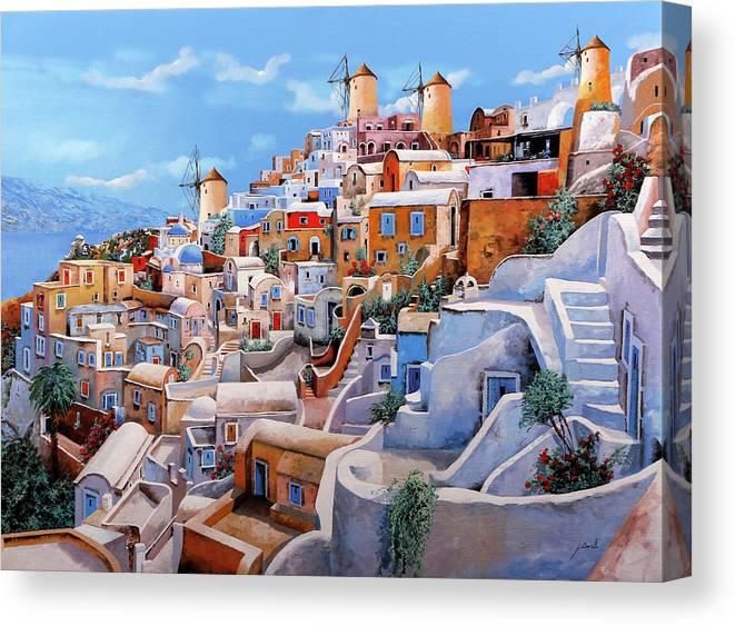 Greece Canvas Print featuring the painting I colori di santorini  by Guido Borelli