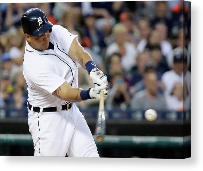 Three Quarter Length Canvas Print featuring the photograph Ian Kinsler, Miguel Cabrera, and Anthony Gose by Duane Burleson