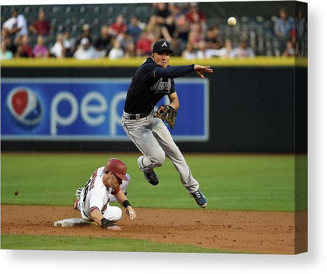 Double Play Canvas Print featuring the photograph Jace Peterson and Chris Owings by Norm Hall