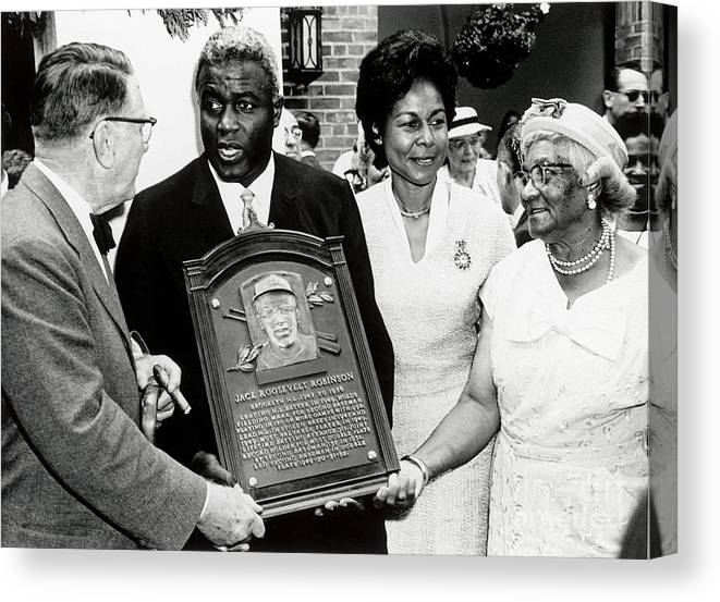 People Canvas Print featuring the photograph Jackie Robinson by National Baseball Hall Of Fame Library