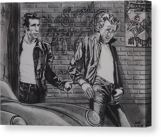 Charcoal On Paper Canvas Print featuring the drawing James Dean Meets The Fonz by Sean Connolly
