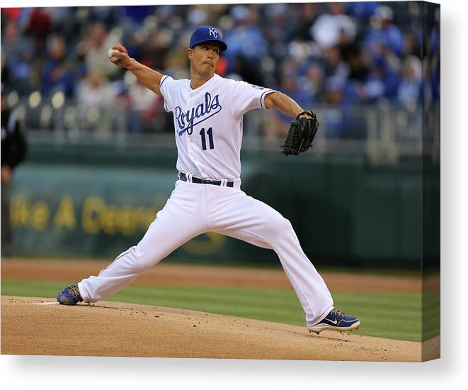 American League Baseball Canvas Print featuring the photograph Jeremy Guthrie by Ed Zurga
