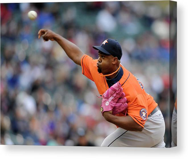 American League Baseball Canvas Print featuring the photograph Jerome Williams by Hannah Foslien