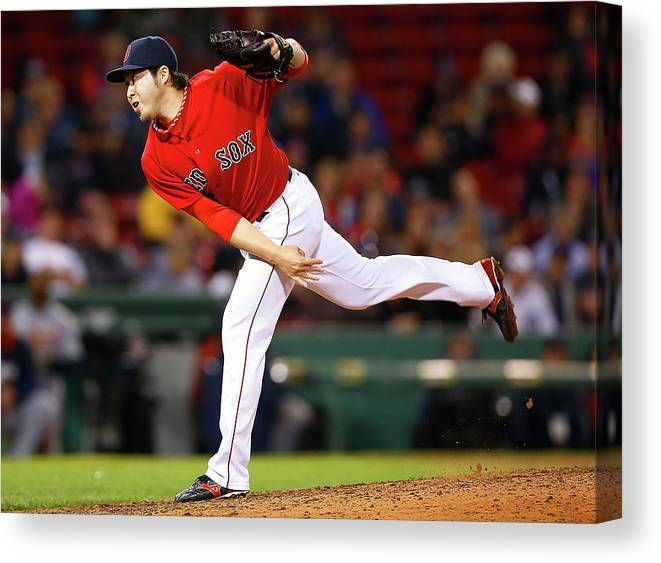 American League Baseball Canvas Print featuring the photograph Junichi Tazawa by Jared Wickerham
