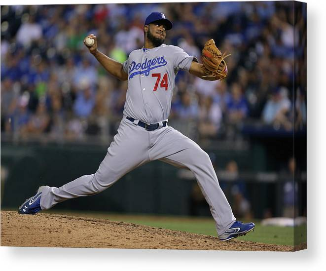 Ninth Inning Canvas Print featuring the photograph Kenley Jansen by Ed Zurga