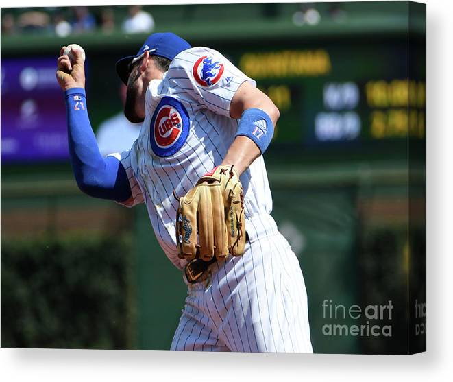 Second Inning Canvas Print featuring the photograph Kevin Pillar and Kris Bryant by David Banks