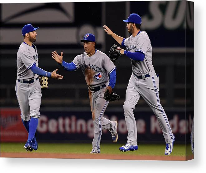 People Canvas Print featuring the photograph Kevin Pillar, Chris Colabello, and Ezequiel Carrera by Hannah Foslien