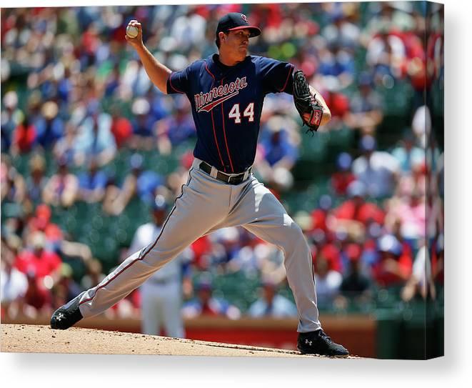 American League Baseball Canvas Print featuring the photograph Kyle Gibson by Tom Pennington