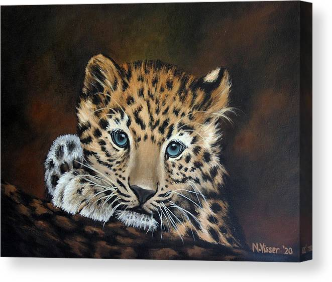 Leopard Canvas Print featuring the painting Leopard cub by Nellie Visser