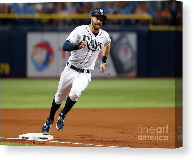 People Canvas Print featuring the photograph Logan Morrison and Evan Longoria by Brian Blanco