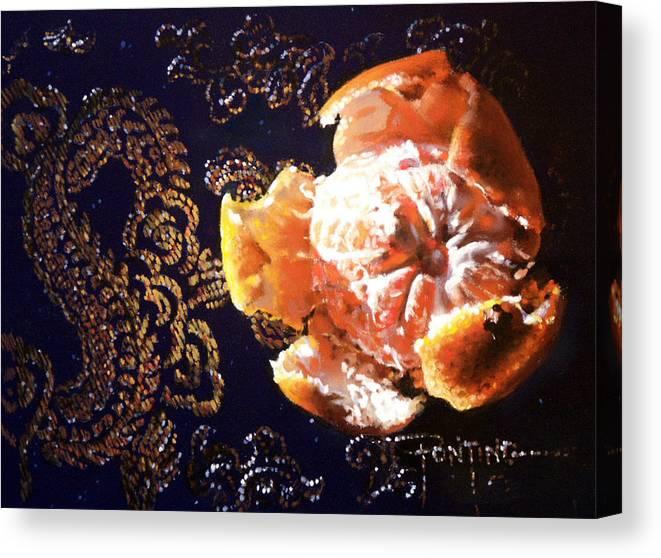 Mandarin Canvas Print featuring the painting Mandarin by Dianna Ponting