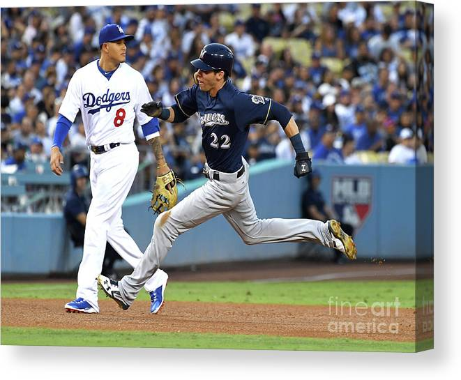 People Canvas Print featuring the photograph Manny Machado, Christian Yelich, and Lorenzo Cain by Jayne Kamin-oncea