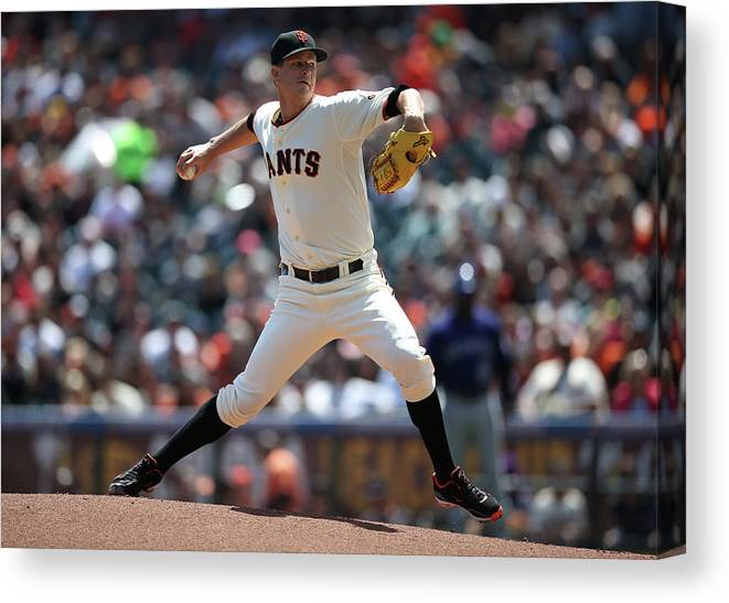 San Francisco Canvas Print featuring the photograph Matt Cain by Brad Mangin