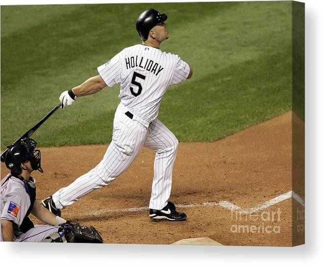 National League Baseball Canvas Print featuring the photograph Matt Holliday and Dan Wheeler by Brian Bahr