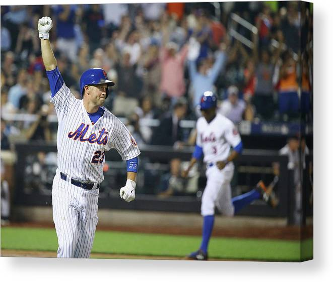People Canvas Print featuring the photograph Michael Cuddyer and Curtis Granderson by Al Bello
