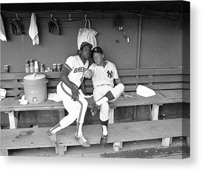 American League Baseball Canvas Print featuring the photograph Mickey Mantle and Hank Aaron by Ronald C. Modra/sports Imagery