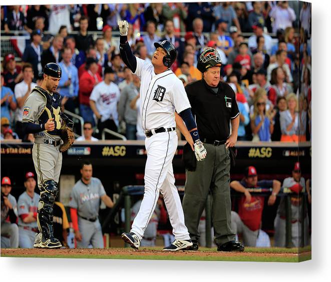 American League Baseball Canvas Print featuring the photograph Miguel Cabrera by Rob Carr