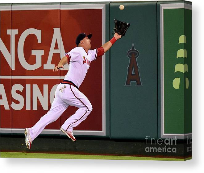 People Canvas Print featuring the photograph Mike Trout and Adam Eaton by Harry How