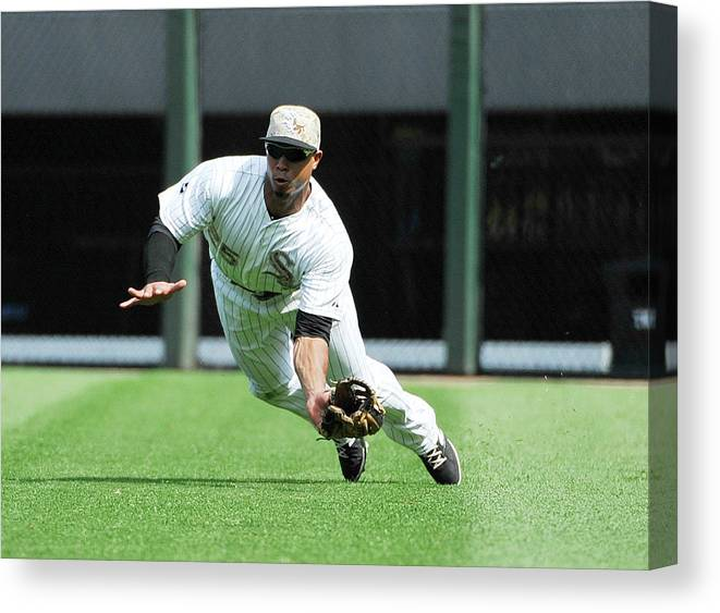 American League Baseball Canvas Print featuring the photograph Moises Sierra and Yan Gomes by David Banks