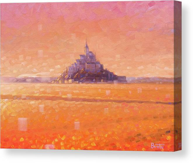 Mont Saint Michel Canvas Print featuring the painting Mont Saint Michel by Rob Buntin