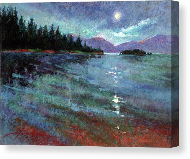 North Idaho Lake Canvas Print featuring the painting Moon Over Lake Pend Orielle by Betty Jean Billups