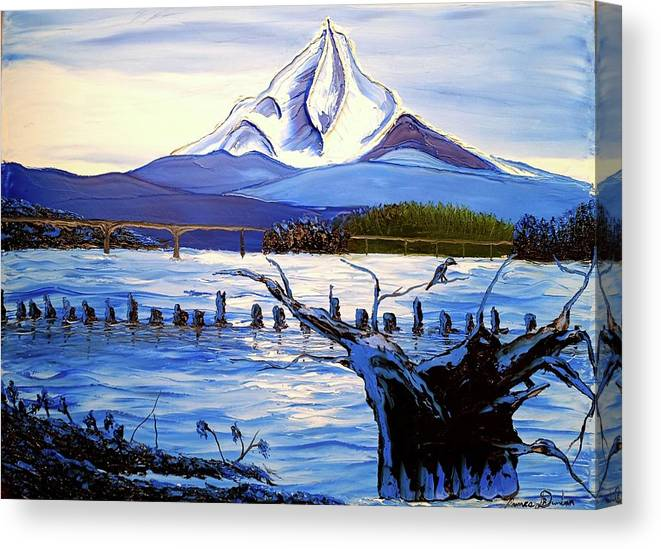 Canvas Print featuring the painting Mount Hood Over Wintler Beach by Dunbar's Local Art Boutique