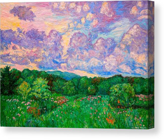 Landscape Canvas Print featuring the painting Mushroom Clouds by Kendall Kessler