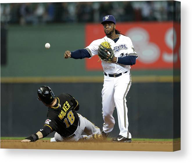 2nd Base Canvas Print featuring the photograph Neil Walker and Rickie Weeks by Jeffrey Phelps