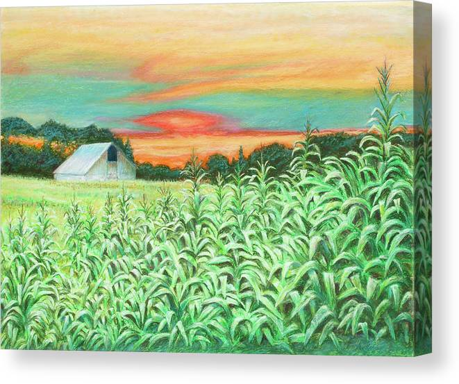 Landscape Canvas Print featuring the painting Neola Corn by Arthur Fix