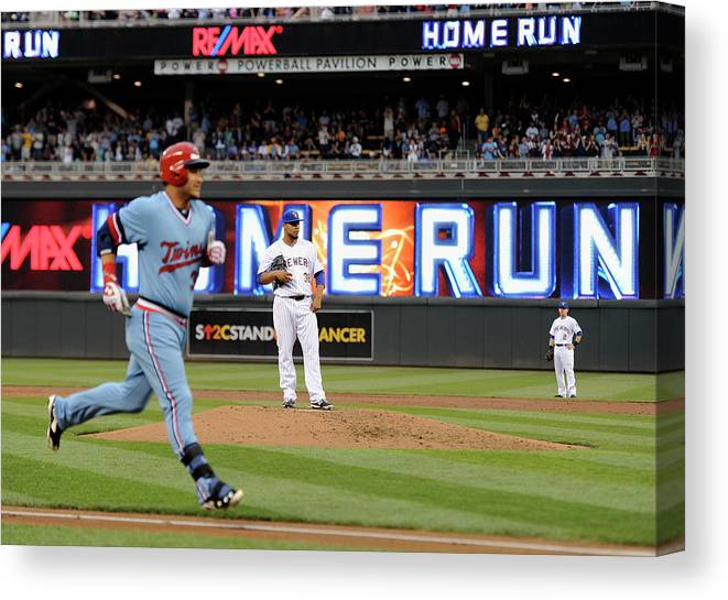 Oswaldo Arcia Canvas Print featuring the photograph Oswaldo Arcia and Wily Peralta by Hannah Foslien