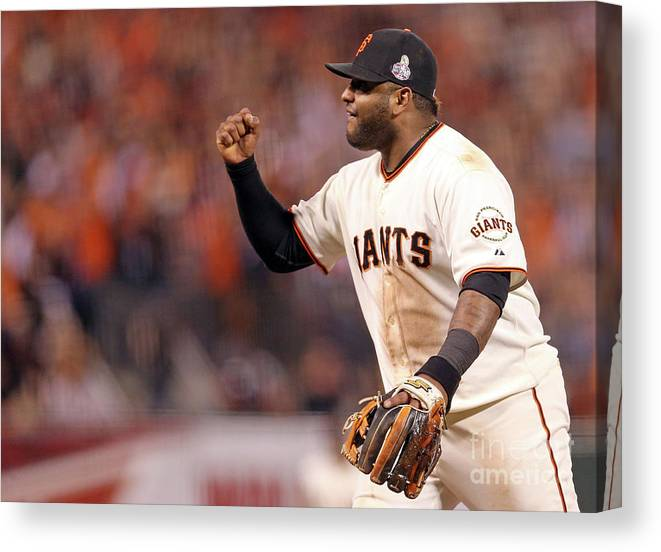 Game Two Canvas Print featuring the photograph Pablo Sandoval and Gerald Laird by Christian Petersen